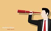 Businessman holding binoculars on color background, Business vision concept. Illustration vector flat