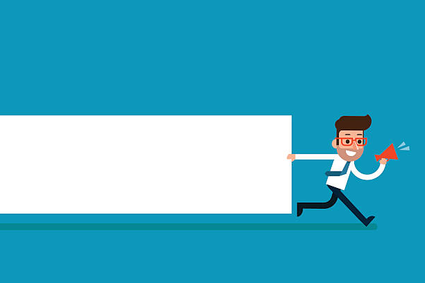 businessman holding blank notes. - attention stock illustrations, clip art, cartoons, & icons