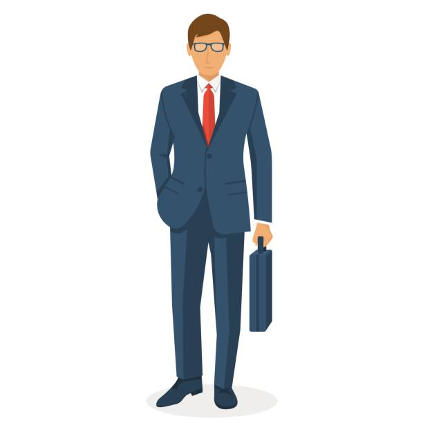 Businessman holding briefcase isolated Businessman holding briefcase isolated on white background. Vector illustration flat design. Male cartoon character. Office manager in a business suit. Confident man. suit stock illustrations