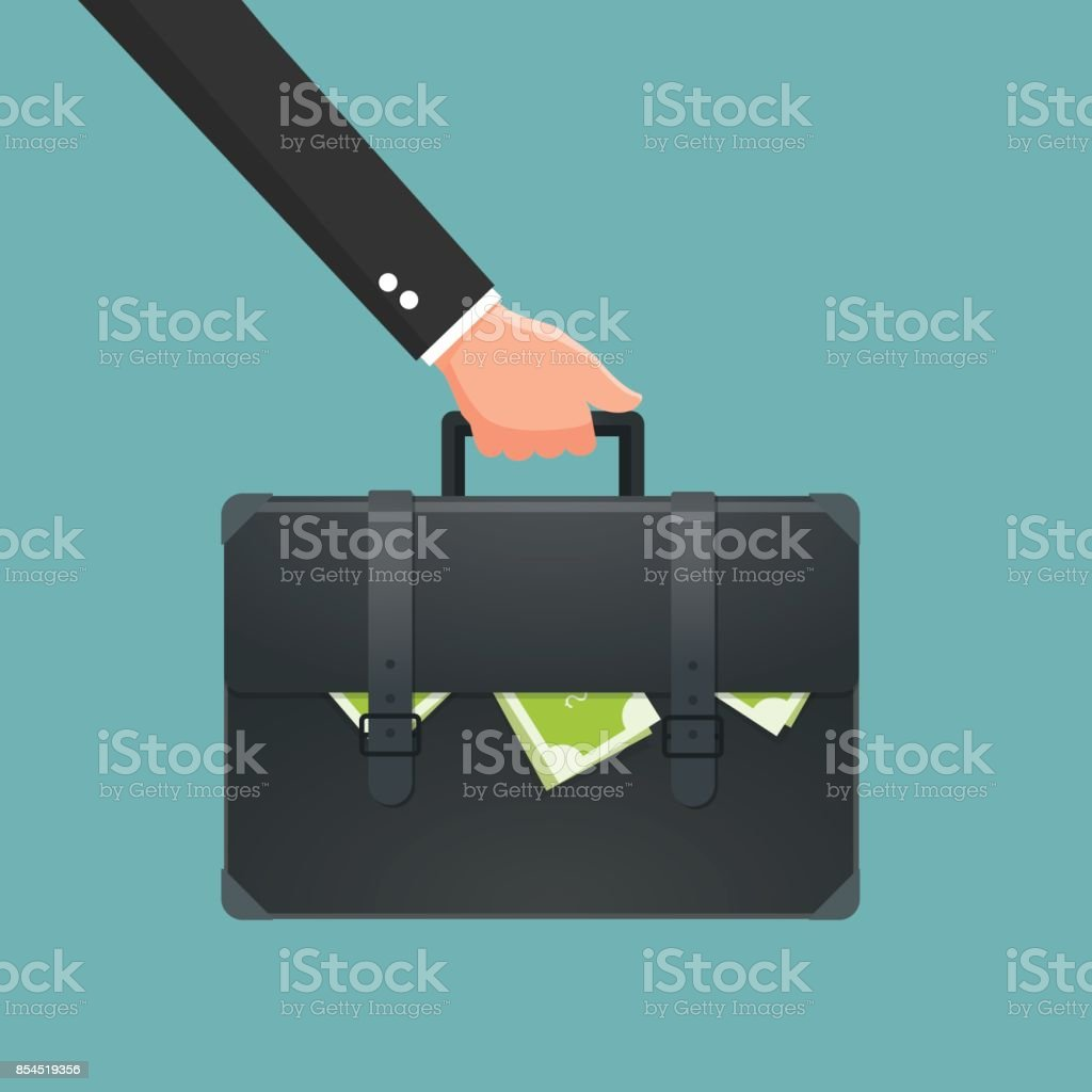 Businessman holding briefcase with money. Vector illustration. vector art illustration