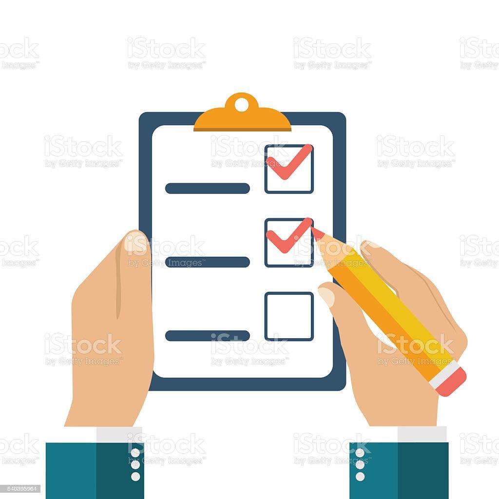 Businessman holding checklist and pencil. vector art illustration