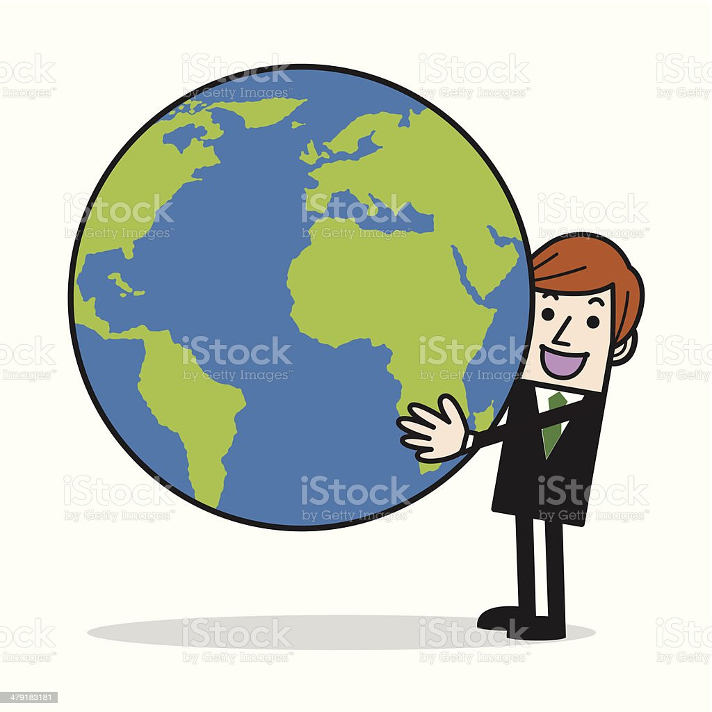 Businessman holding earth royalty-free stock vector art