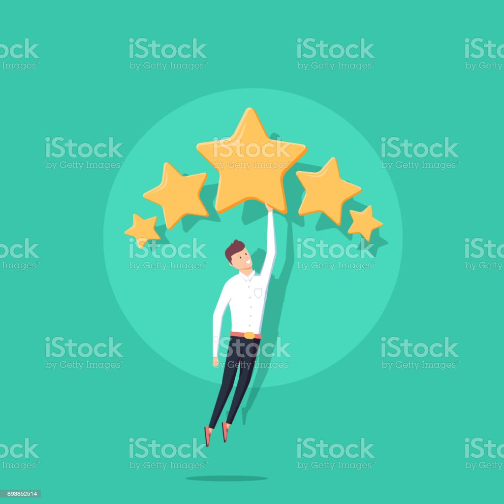Businessman holding five gold stars for rating, quality and business concept. Vector, illustration, flat. vector art illustration