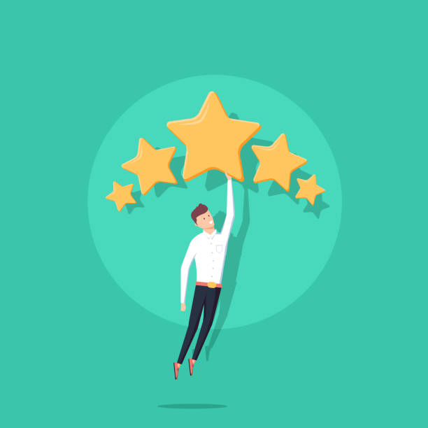 Businessman holding five gold stars for rating, quality and business concept. Vector, illustration, flat. Businessman holding five gold stars for rating, quality and business concept. Vector, illustration, flat style. Client's Review, Customer Feedback or Satisfaction Level concept for Website perfection stock illustrations