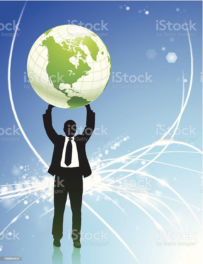 Businessman holding globe on fiber optic background royalty-free businessman holding globe on fiber optic background stock vector art & more images of atlas - mythological figure