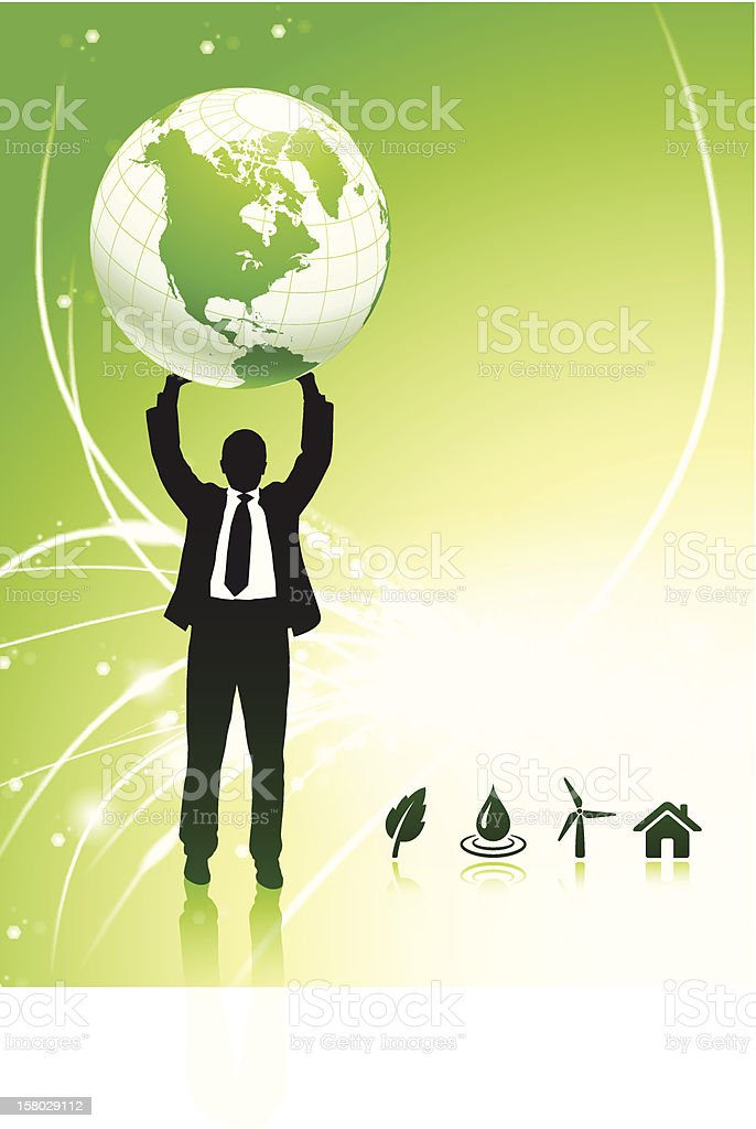 Businessman holding globe on fiber optic background with icons royalty-free stock vector art