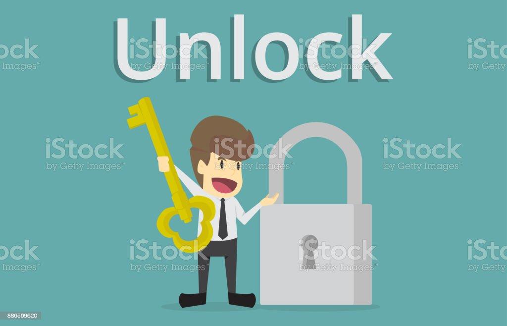 door lock and key cartoon. Businessman Holding Golden Key To Unlock The Lock,Key Success.cartoon Of Business Door Lock And Cartoon
