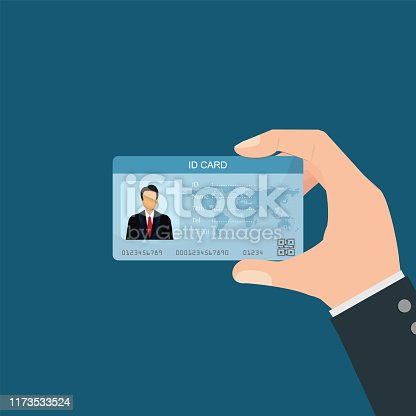 Businessman holding Id card. character cartoon business people conceptual vector illustration.