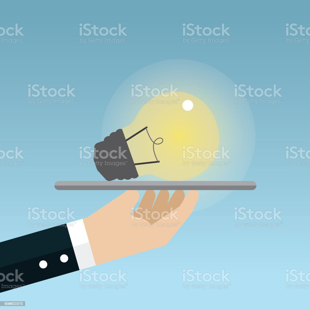 Businessman holding idea stock vector art illustration