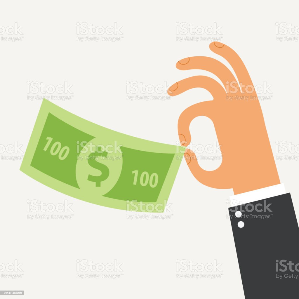 Businessman holding in his hand the hundred dollars royalty-free businessman holding in his hand the hundred dollars stock vector art & more images of adult