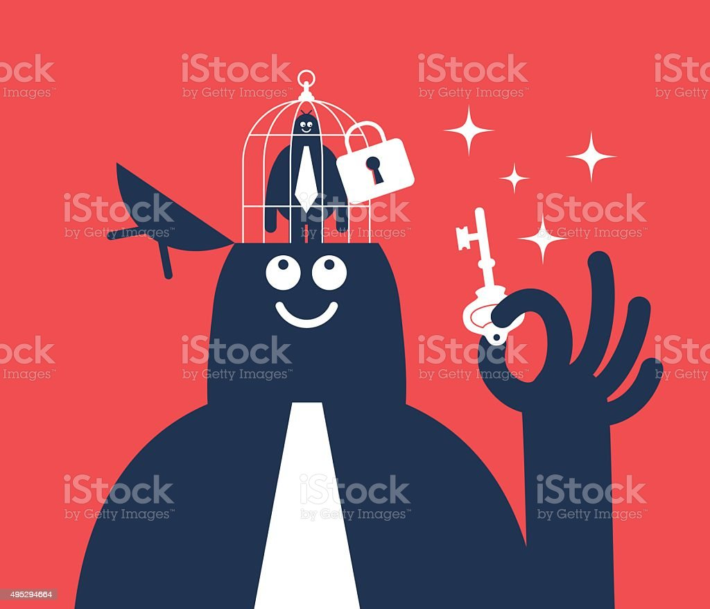 Businessman holding key, open head with small man in birdcage vector art illustration