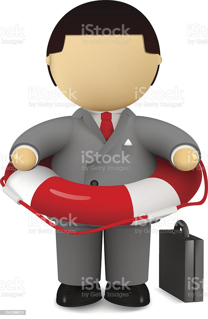Businessman holding life belt royalty-free stock vector art