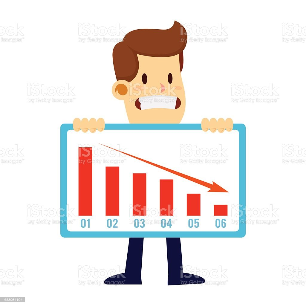 businessman holding loss sales chart failure concept stock vector