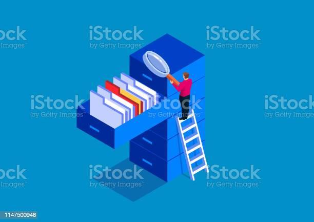 Geschäftsmann Hält Lupe Auf Der Suche Nach Dokumenten Stock Vektor Art und mehr Bilder von Ablagekasten