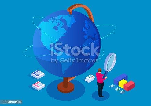 Businessman holding magnifying glass studying globe, global finance