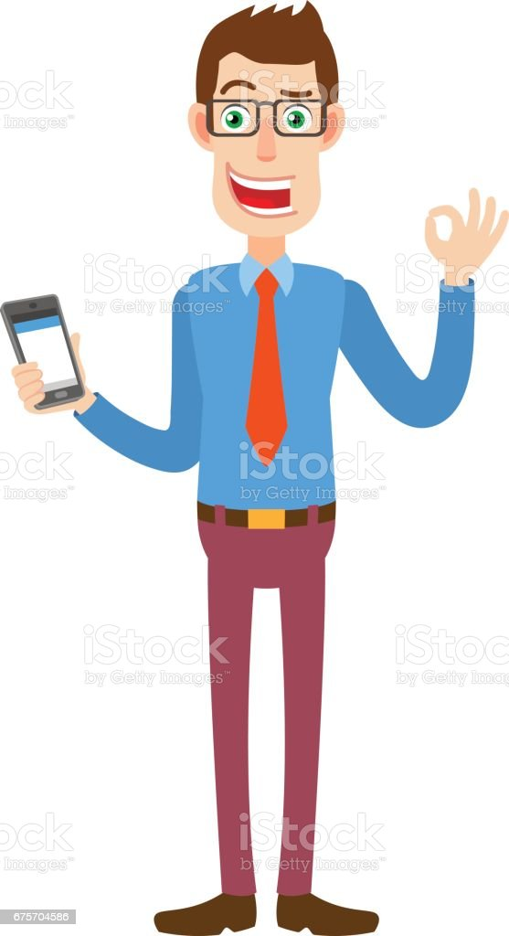 Businessman holding mobile phone and showing a okay hand sign 免版稅 businessman holding mobile phone and showing a okay hand sign 向量插圖及更多 上唇鬍鬚 圖片
