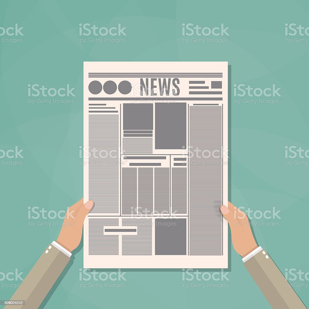 Businessman holding newspaper vector art illustration