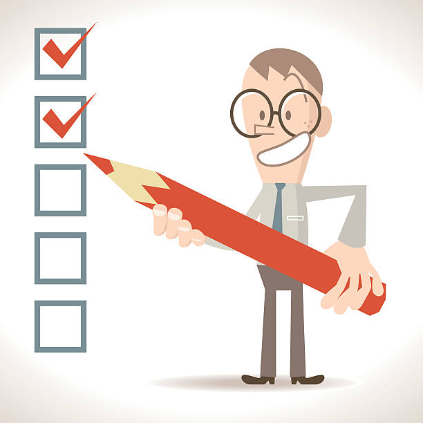 stockillustraties, clipart, cartoons en iconen met businessman holding pencil, putting check mark in checkbox (verified , unchecked) - overhemd en stropdas