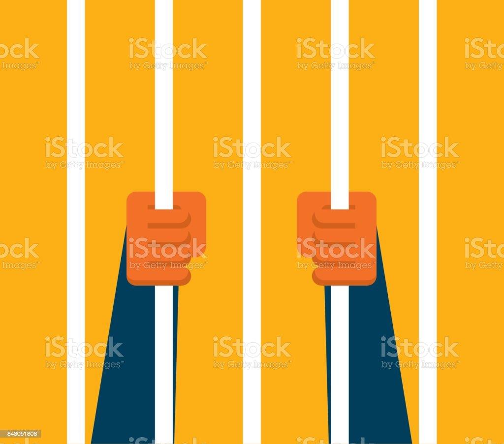 Businessman holding prison bars vector art illustration