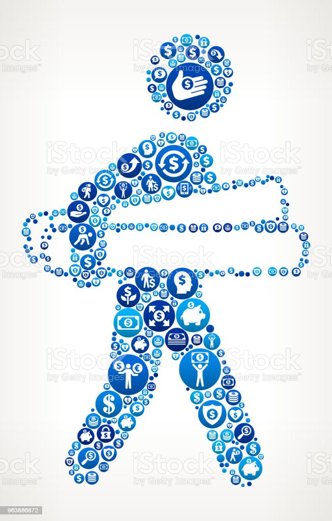 Businessman Holding Projects Money Blue Icon Pattern Background - Royalty-free Adult stock vector
