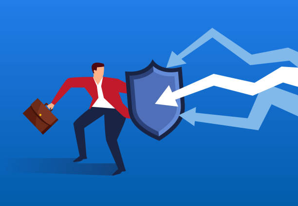 Businessman holding shield against falling arrow Businessman holding shield against falling arrow recession stock illustrations