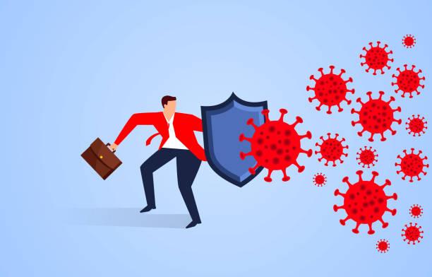 Geschäftsmann hält Schild gegen neues Coronavirus – Vektorgrafik
