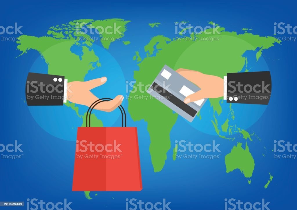 Businessman holding shopping bag and credit card for online shopping businessman holding shopping bag and credit card for online shopping on world map background vector gumiabroncs Gallery