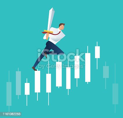 businessman holding sword on candlestick graph , concept of stock exchange vector illustration