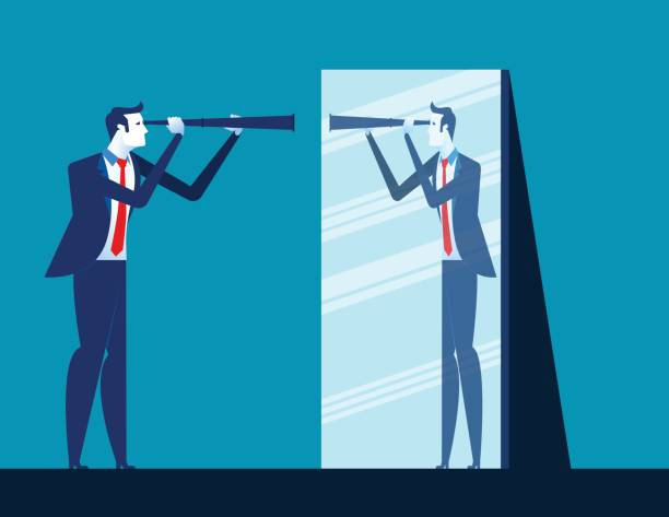 businessman holding telescope and reflecting in mirror. concept business vector illustration. - patrzeć stock illustrations