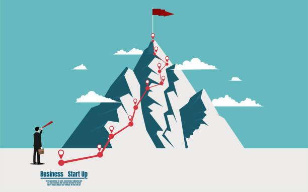 実業団トップの山に旗を探している望遠鏡を保持 - 戦略点のイラスト素材/クリップアート素材/マンガ素材/アイコン素材