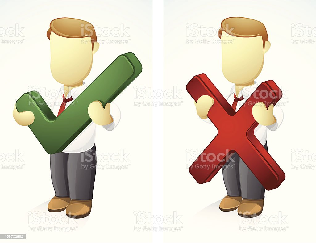 Businessman holding tick and cross symbol stock vector art more businessman holding tick and cross symbol royalty free businessman holding tick and cross symbol stock buycottarizona Choice Image