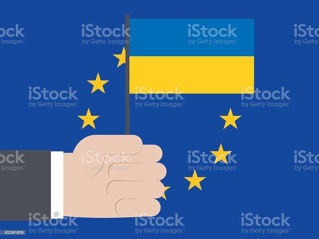 Businessman holding Ukrainian Flag against EU vector art illustration