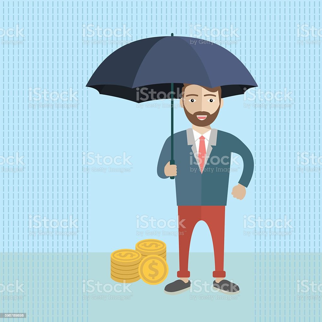 Businessman holding umbrella to protect money. vector art illustration