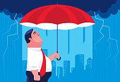 vector illustration of businessman holding umbrella with black cloud