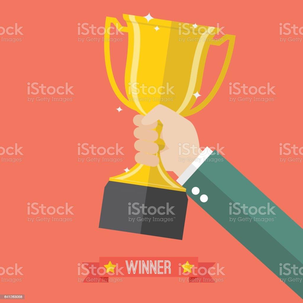 Businessman holding up a champion trophy vector art illustration
