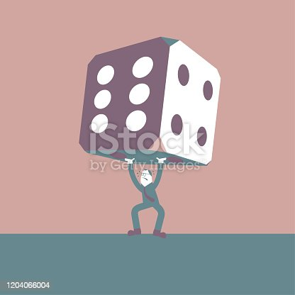istock Businessman holding up huge dice. The background is brown. 1204066004