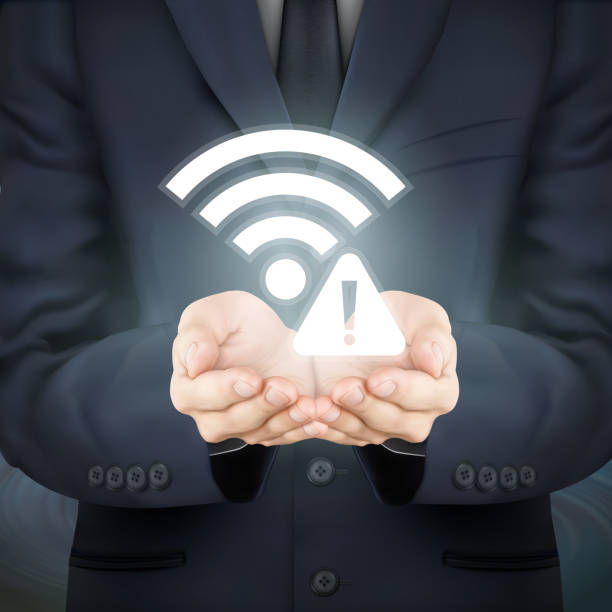 businessman holding wifi connection problem icon close-up look at businessman holding wifi connection problem icon inconvenience stock illustrations