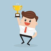 Businessman holding winning trophy. flat design. vector