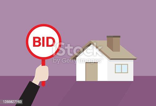 Auction paddle, Price, Buying, Bidding, Real estate