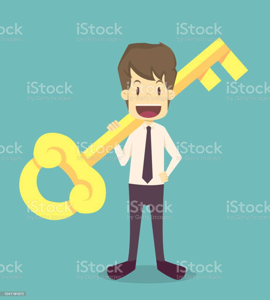 businessman holds a golden key in his handcartoon of