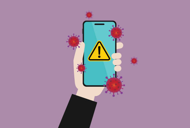 Businessman holds a mobile phone with a virus Global business, Coronavirus, Bacteria, Accidents and disasters, COVID-19, Outbreak, Quarantine, Protection, Washing hands, Using phone pathogen stock illustrations