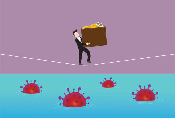 Businessman holds a wallet and walking on a rope with a virus in the sea Home finance, Coronavirus, Bacteria, Accidents and disasters, COVID-19, Outbreak, Vaccine, Tightrope, Banking, Bankruptcy financial planning stock illustrations