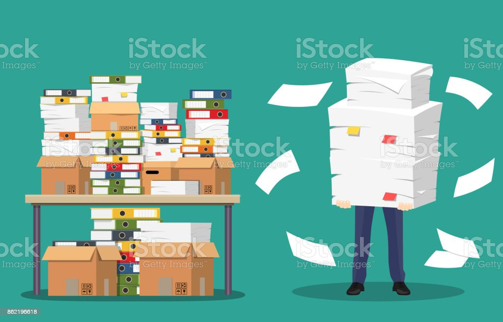 Businessman holds pile of office papers and documents. vector art illustration