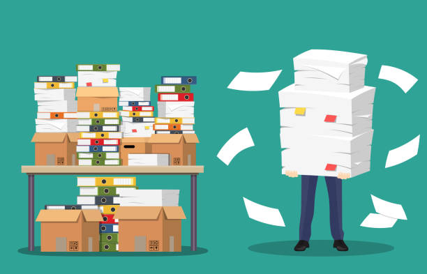 Businessman holds pile of office papers and documents. Businessman holds pile of office papers and documents. Documents and file folders on table. Routine, bureaucracy, big data, paperwork, office. Vector illustration in flat style overworked stock illustrations