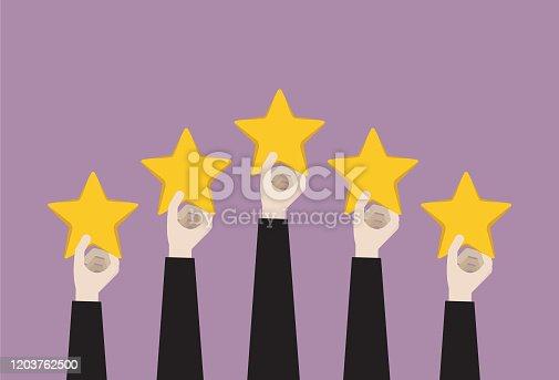 istock Businessman holing five-star 1203762500