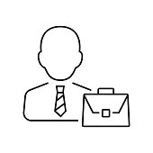 Businessman icon in thin line style. Vector symbol. Business icon.