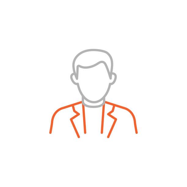 stockillustraties, clipart, cartoons en iconen met pictogram van de zakenman met bewerkbare slag - alleen één jonge man