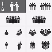 Businessman Icons set. Team Icons. Crowd of people. Group of men (business man). Vector set