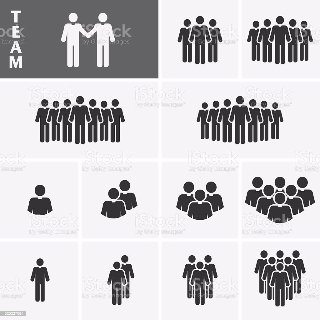 Businessman Icons set. Team Icons. Crowd of people. vector art illustration