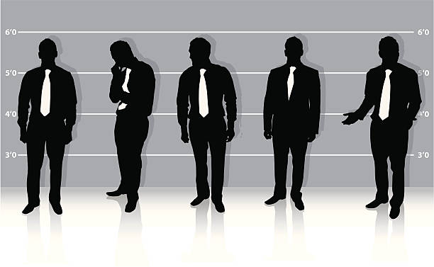 Businessman ID Vector illustration of several businessmen in an ID parade. Perfect for demonstrating recruitment, whistle blowing, selection or identification. police line up stock illustrations